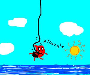 bean shaped deadpool bungee jumps over ocean