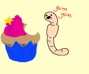 Worm eating a cupcake.,.,.,