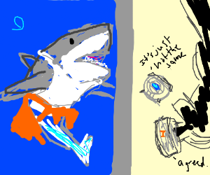 Shark Chell disappoints GLaDOS and Wheatley