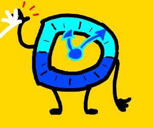 The drawception logo, as a clock, highfives