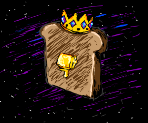 King of toasts in purple space