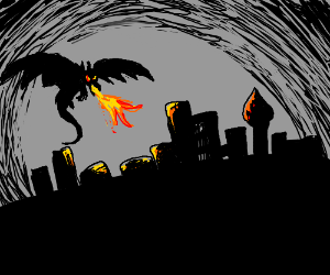 Dragon burns city