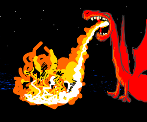 A dragon lights a city on fire (go dragon)