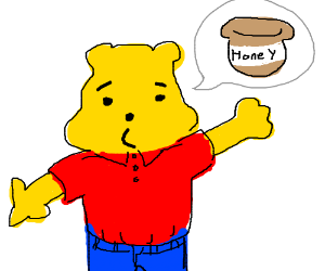 winnie the pooh wearing clothes wants hunny