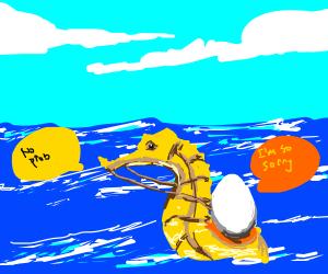 Egg apologises to seahorse.