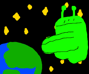 An alien potty collides with the Earth
