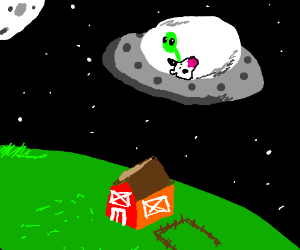 Android alien kidnaps cow in his space ship