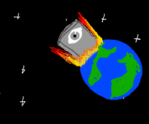 A giant slab with an eye crashes into Earth.