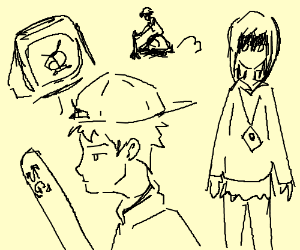 The Protagonist of FLCL wearing a vague shirt