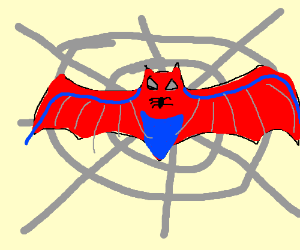 spider-bat among spiderwebs