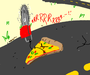 a scary piece of pizza on the road