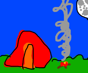 tent neer a camp fire