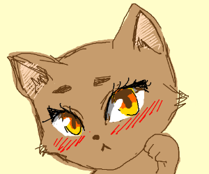 Kawaii Cat With Blushy Face And Anime Eyes Drawing By Elderflower