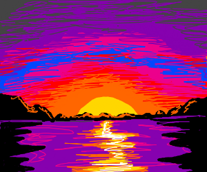 the sunset over a lake