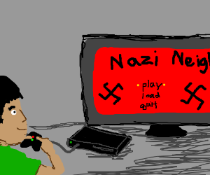 Guy plays Nazi video game.