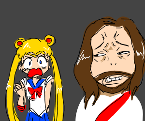 Anime sailor girl displeases Jesus
