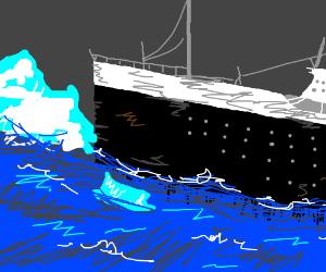 Titanic hits iceberg,  guy dies