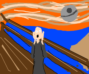 Scream painting with death star in bg