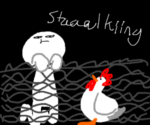 Man stalks a chicken