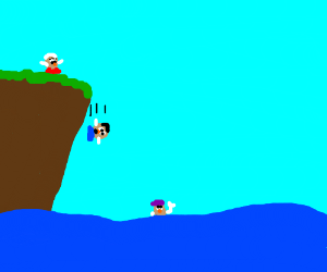 mr. potatohead jumps off a cliff to his friend