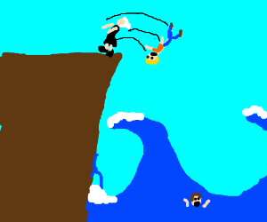 Old woman throw men from the cliff to the sea