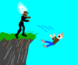 White haired girl throws guy off cliff