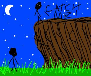 Cliff jumper wants friend to catch him.