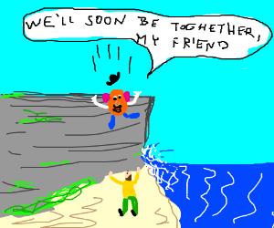 Potato head jumps to friend below cliff