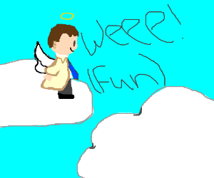 Angel having fun in heaven