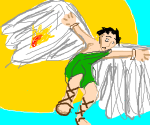 Icarus flies too close to the sun.