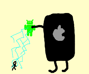 Giant iPhone electricutes kid with android