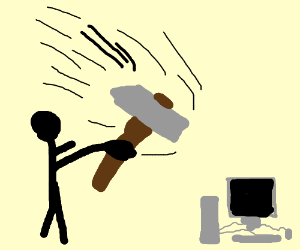 Man destroying a computer