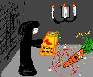 Guy drops fruity pebbles, summons carrot