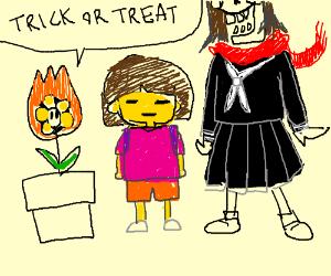 undertale halloween cast wearing costumes