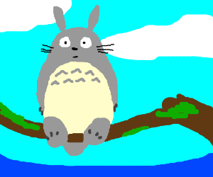 Totoro sitting on a branch