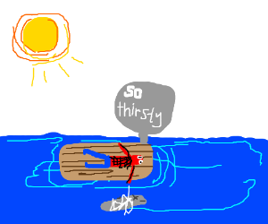 spiderman dying of thirst in the ocean