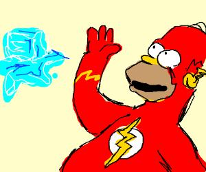 The Flash Homer bids melting ice fairwell
