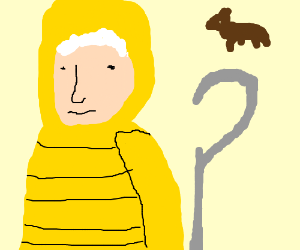Jack Frost w/ puppy wearing a yellow hoodie
