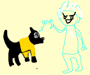 Jack Frost hypnotizes a dog w/ a yellow shirt