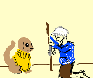 Jack Frost hypnotized dog in yellow sweater