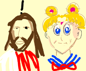 Jesus suspicious of Sailor Moon