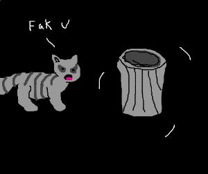 raccoon yells at rattling garbage can