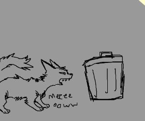 cat screams at trash can