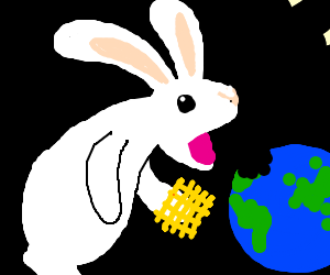 A rabbit with a golden waffle eating the world