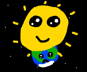 antro Sun sits on earth's head