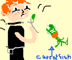 Ginger Goth chokes on carrot fish.