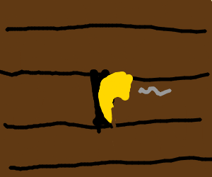 Golden pipe stuck in the ground