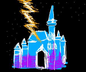 Lightning strikes Cinderella's Castle