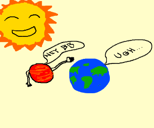 Mars makes a move on Earth; The sun is amused