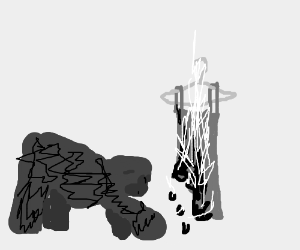 Gorilla worships burning dress